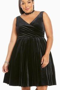 Torrid 26 Black Velvet Faux Wrap Surplice Dress
